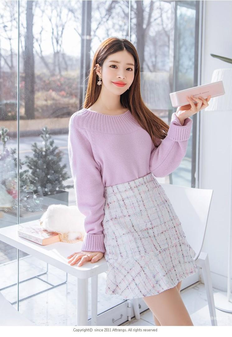 韓 小香風 毛呢褲裙 黑 白 軟呢風格 甜美貴氣 荷葉 短裙