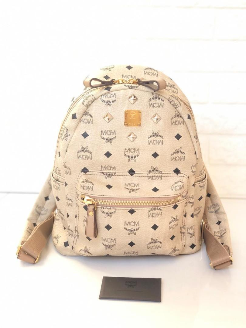 Authentic Preloved MCM Small Backpack Beige (27x33cm) with Booklet only