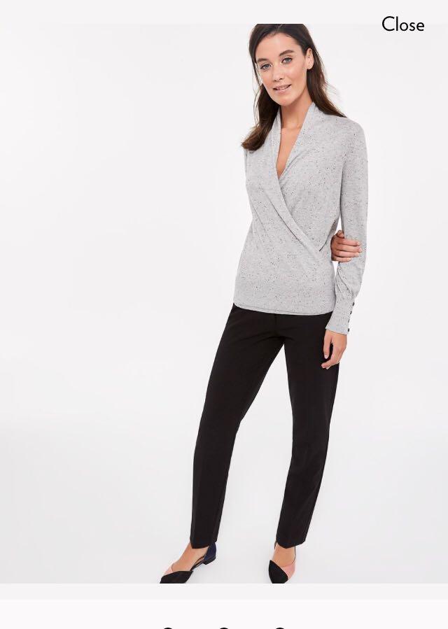 Brand New Reitmans Grey Wrap Sweater (Size Medium)