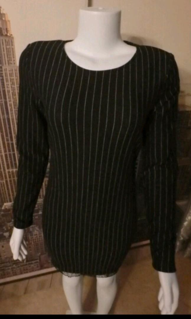 Dynamite black and white striped long sleeves bodycon dress