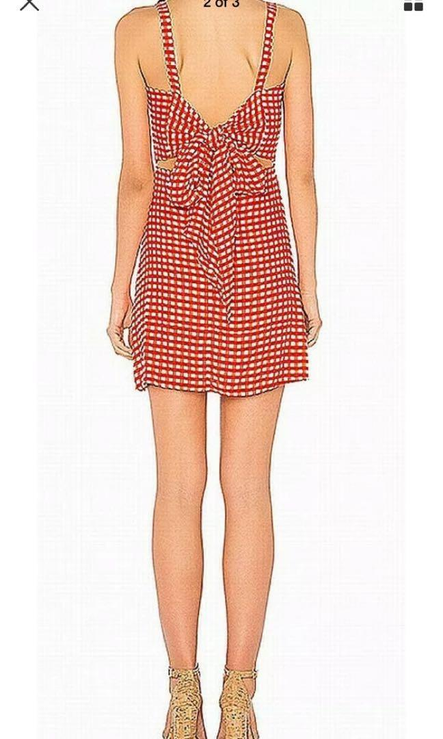 Faithfull The Brand Womens Dress Red Size 12 Cutout Back-Tie A-Line