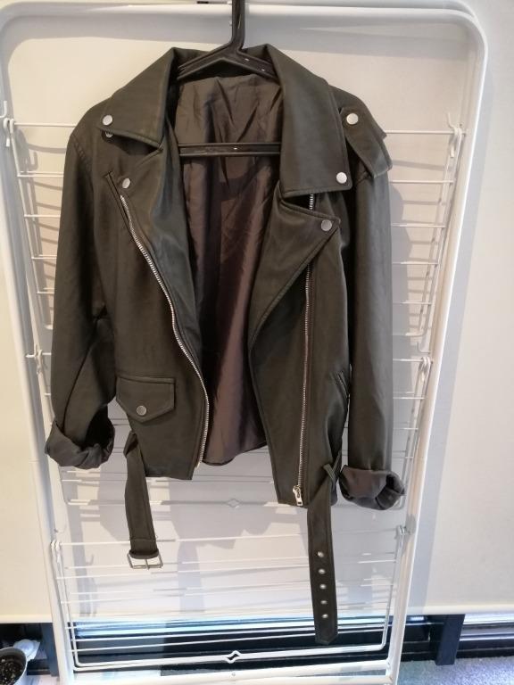 Faux Leather Batwing Oversized Vintage Biker Jacket