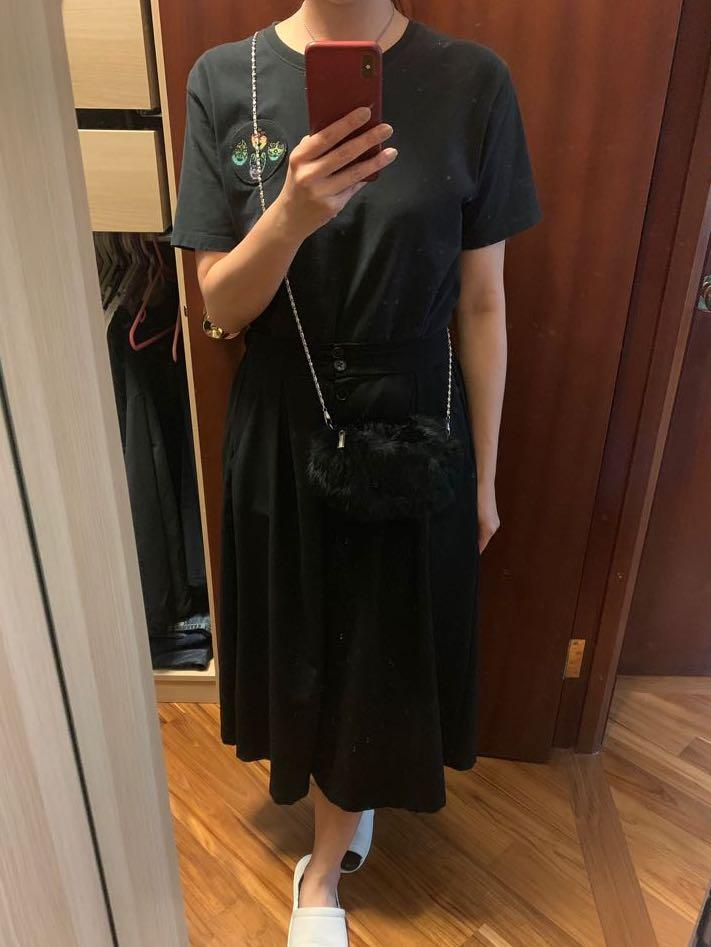 GIORGIO ARMANI 黑色毛毛手袋仔 (三用) 連盒 w gift bag