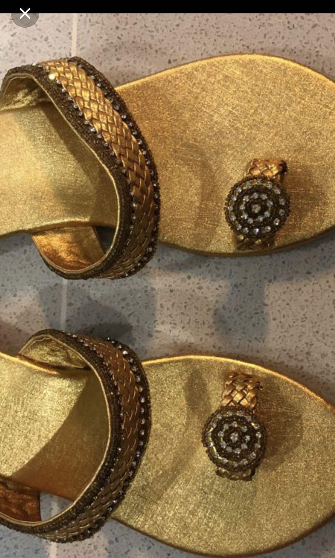 Golden flat party slipper