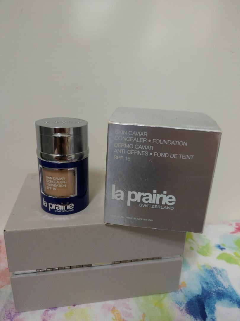 (二手)La prairie魚子精萃奢華訂製粉底組SPF15(creme peche)+蜜粉