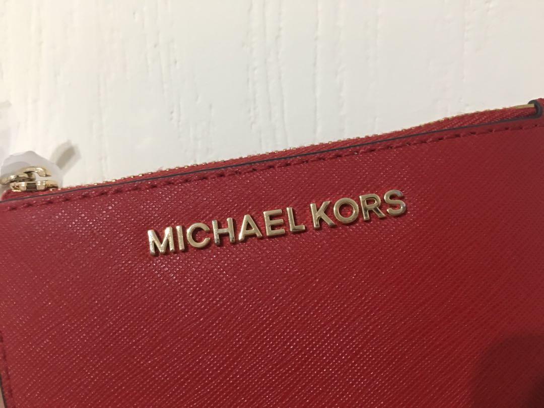 Michael Kors 鑰匙零錢卡包 聖誕紅 金字