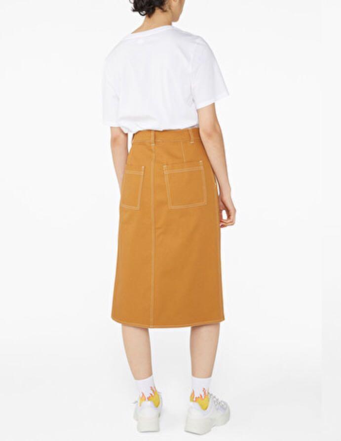 全新Monki skirt 牛仔裙 芥末黃色中長 款 H&M Uniqlo GU Zara