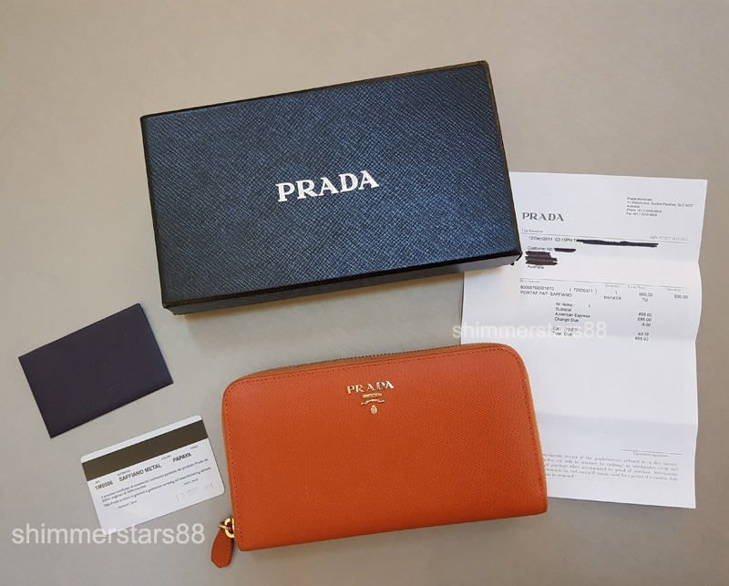 Authentic PRADA Saffiano Wallet with original receipt & authenticity card