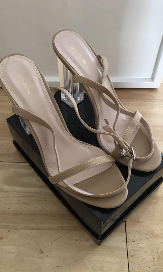 Pretty Little Thing Nude Lycra Clear Block Heel Sandal