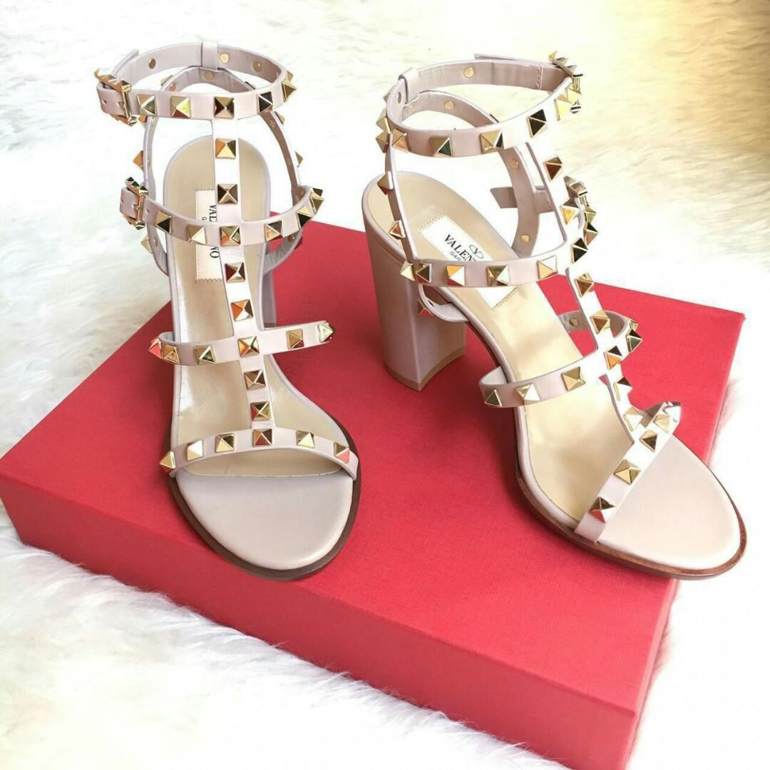 READY Valentino Rockstud Chunky Strappy 9cm • Nude size 36  Complete Box