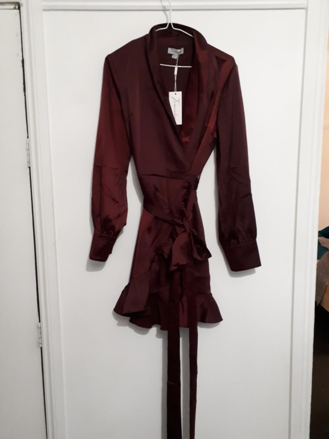 Two sisters the label burgandy wrap dress. Brand new