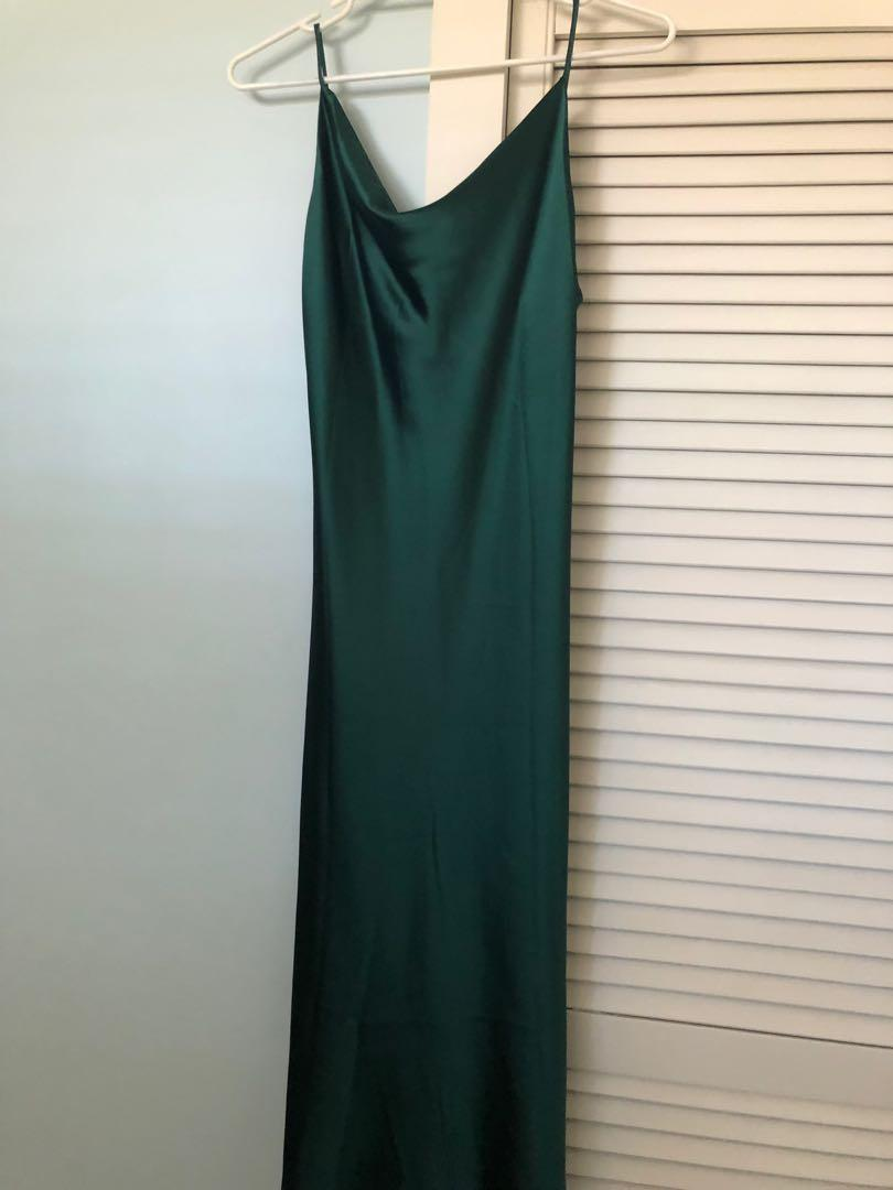 Verge Girl   Green satin cowl neck dress   Size 10