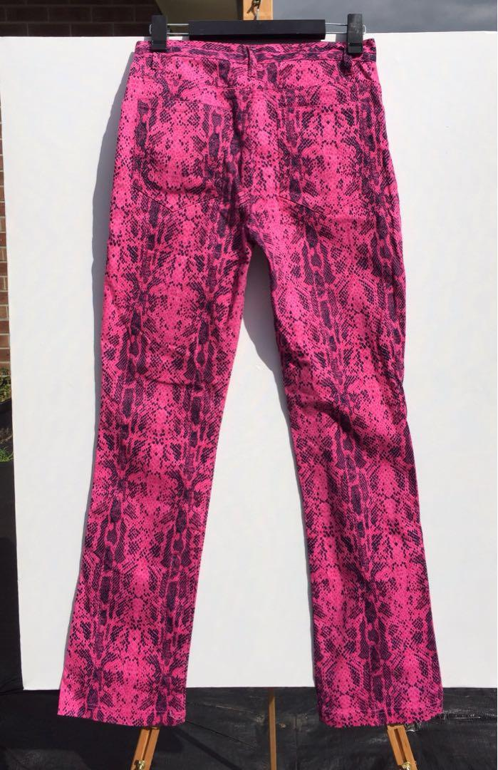 WestCo Snakeskin pink stretch cotton pants Festival Rock Party