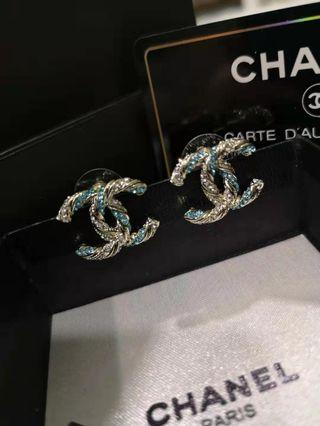 Chanel blue crystals earrings