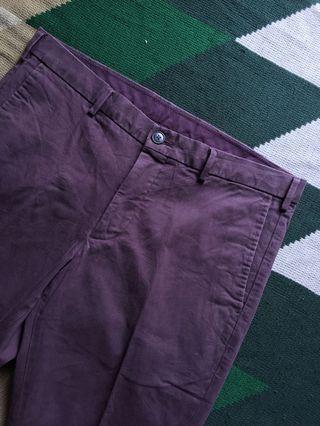 Long Pants Uniqlo Chino Maroon(Celana Panjang Bahan)