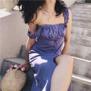 紫羅蘭色 紫色 公主風顯胸無袖長洋裝