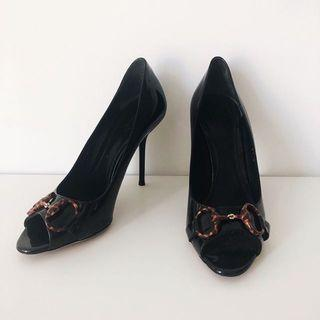 Gucci Black Patent Horsebit Peep Toe Pumps