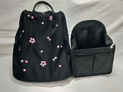 櫻花防盜後背包+包中包整理包