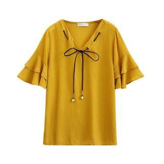 [READYSTOCK] Flare Sleeve With Bowknot Yellow Chiffon Blouse