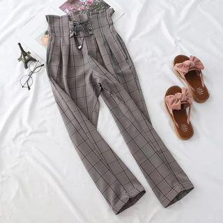 [PREORDER] High Waisted Plaid Pants