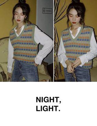 夜光 復古花紋條紋馬甲背心女V領中長款無袖毛衣套頭針織衫 615