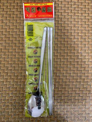 韓國304不銹鋼扁筷湯匙組