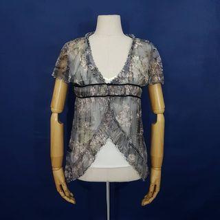 K888 Size M fit L Atasan Blus Jaring Sheer Grey Floral Wanita Rosa C