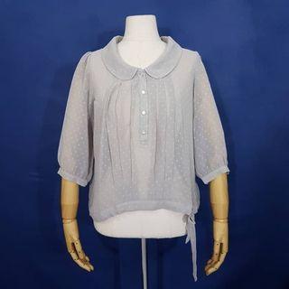 K891 Size L Atasan Blus Chiffon Sheer Grey Dots by Nusy JAPAN Import