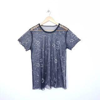 K896 Size L Atasan Sheer Blus Jaring Floral Wanita Import