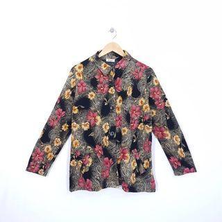 K898 Size XL Atasan Kemeja Floral Vintage Wanita Premium JAPAN Import