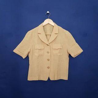K904 Size L Kemeja Blazer Orange Pastel Wanita Polos YAMADA Japan