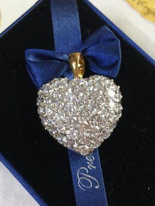 超大愛心鑽石墜子銀鍍金