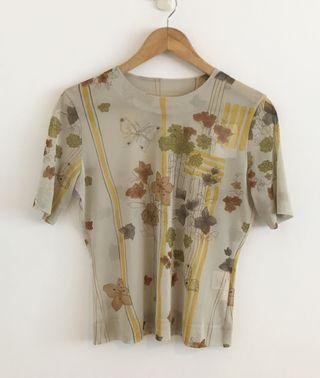 CORDIER 日本專櫃 雪紡紗手繪印花短袖上衣 日本製