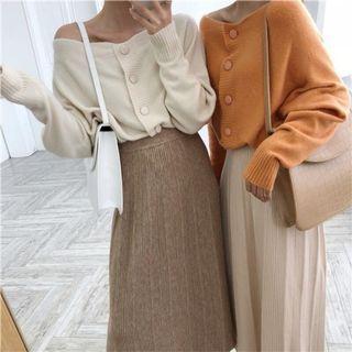 #正韓平口排扣毛衣-13色