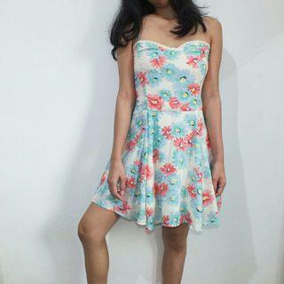 Floral print mini dress/ summer flare dress korean look murah