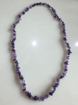 Purple Color Crystal & Black Stone Necklace