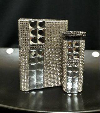 時尚水晶鑽造型打火機禮盒(透灰水鑽)