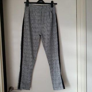 List side striped stripe tartan check checkered pants celana panjang kotak garis samping