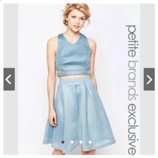 出清!! ASOS 兩件式粉藍挖背背心 +下身裙