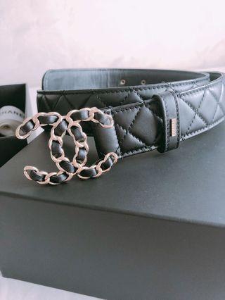 Chanel logo黑 牛皮皮帶 寬版 3.5cm 80碼