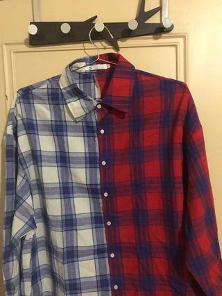 韓國拼接格子襯衫對稱襯衫雙色拼接襯衫
