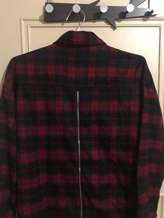 歐美背後拉鍊設計襯衫側邊拉鍊設計襯衫紅色格子襯衫