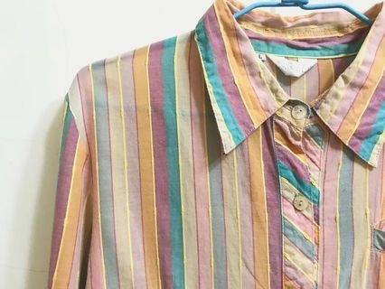可愛暖色系直條紋古著襯衫