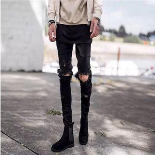 歐美高街秋冬裝男褲膝蓋破洞水洗修身小腳牛仔褲時尚潮流彈力長褲