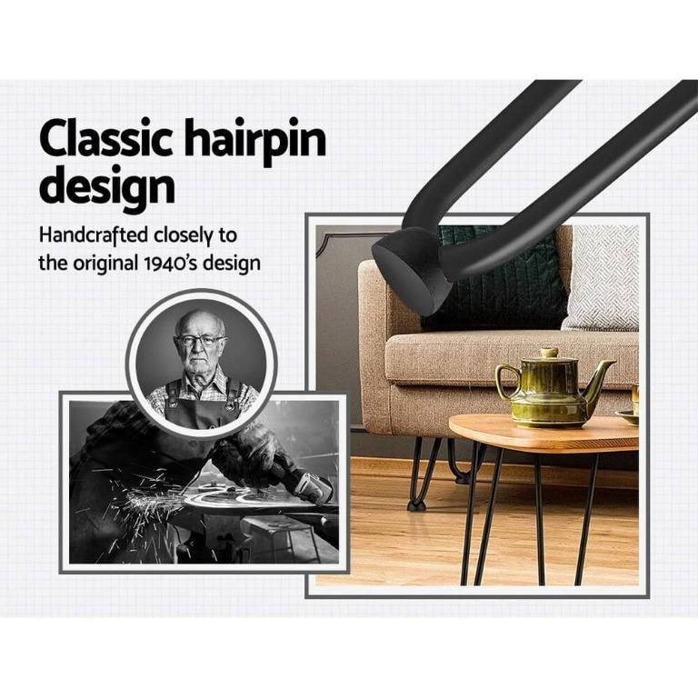 4x Hairpin Legs Coffee Dinner Table Steel Industrial Desk Bench 2 Rod Black 45CM