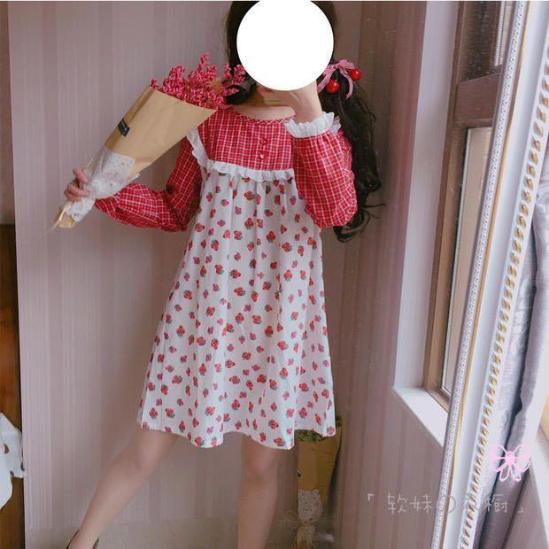 日系草莓格子洋裝