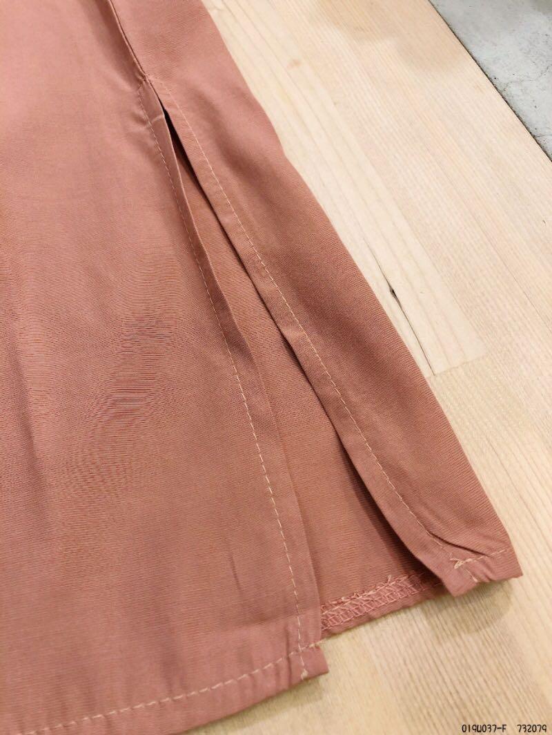#翻領綁帶縮口袖口袋長洋裝-四色