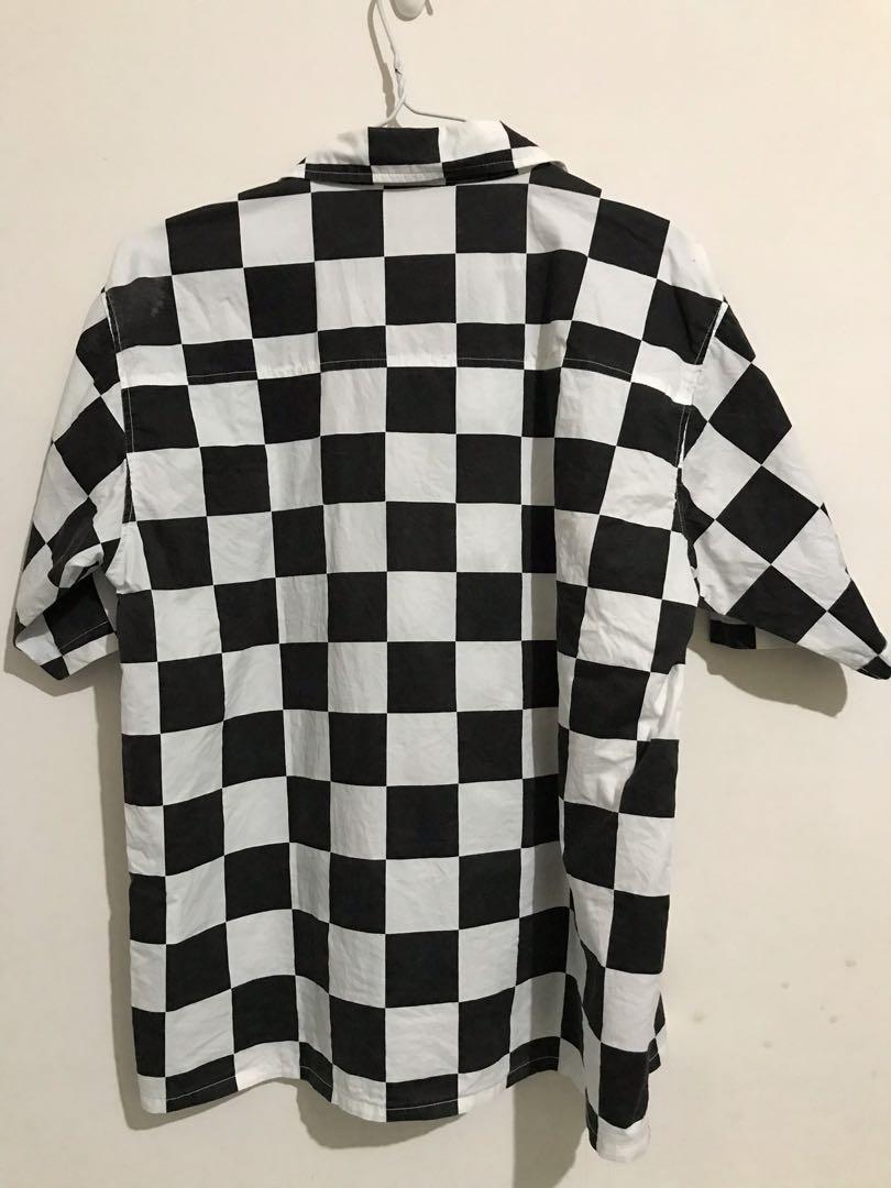 棋盤格紋短袖襯衫
