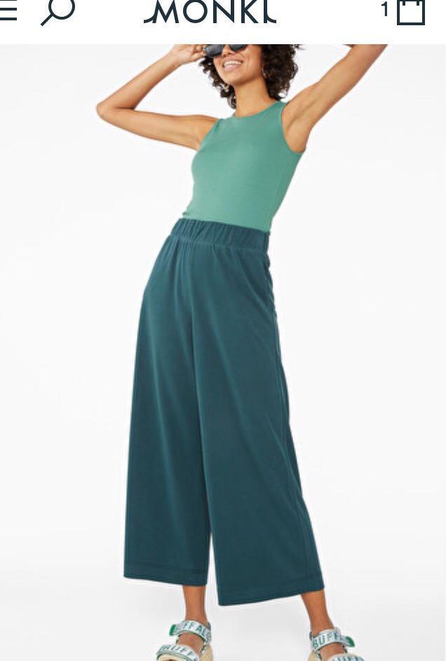 全新 Monki Trousers 藍綠色闊腳褲  GU Uniqlo Zara