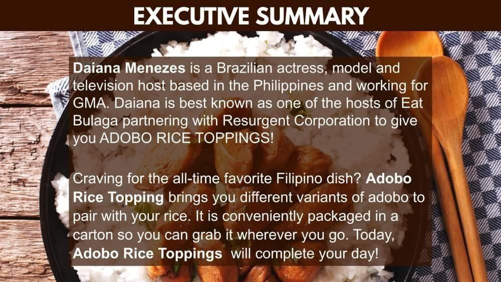 Adobo Rice Toppings Food Cart Franchise by Daiana Menezes